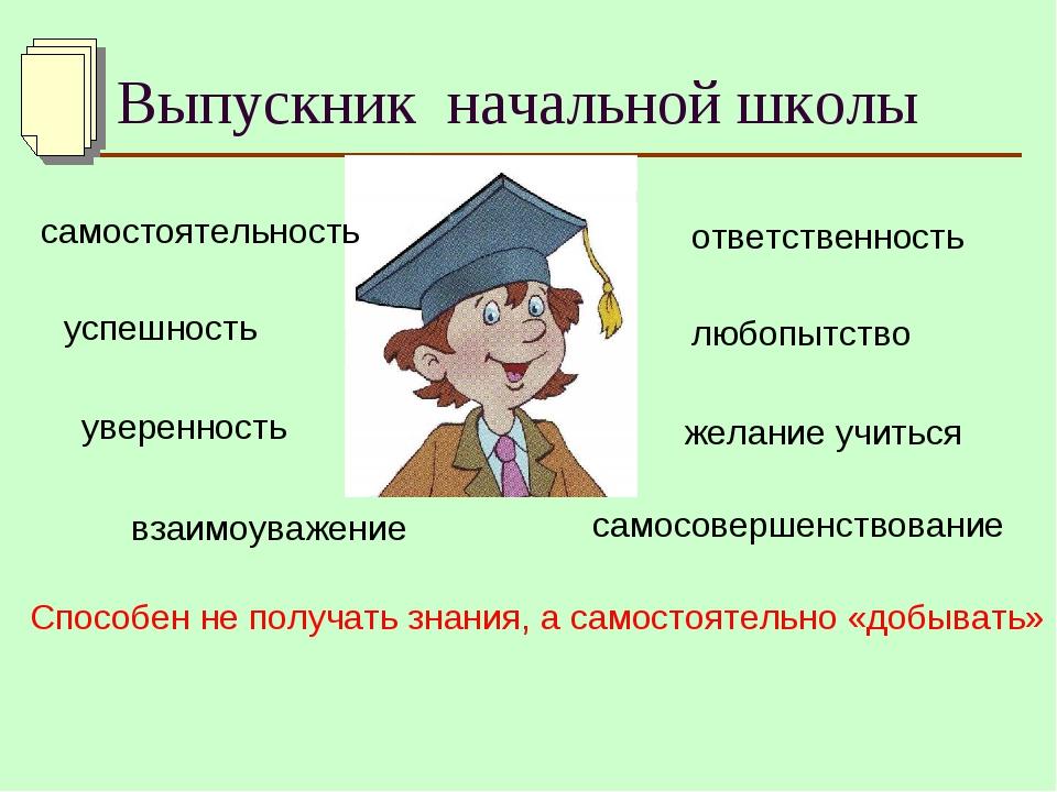 Выпускник начальной школы самостоятельность успешность уверенность самосоверш...