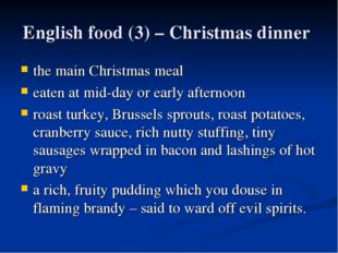 English food (3) – Christmas dinner the main Christmas meal eaten at mid-day