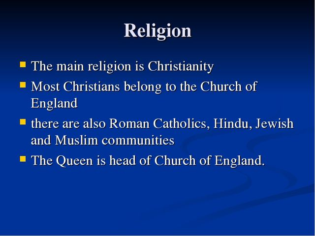 Religion The main religion is Christianity Most Christians belong to the Chur...