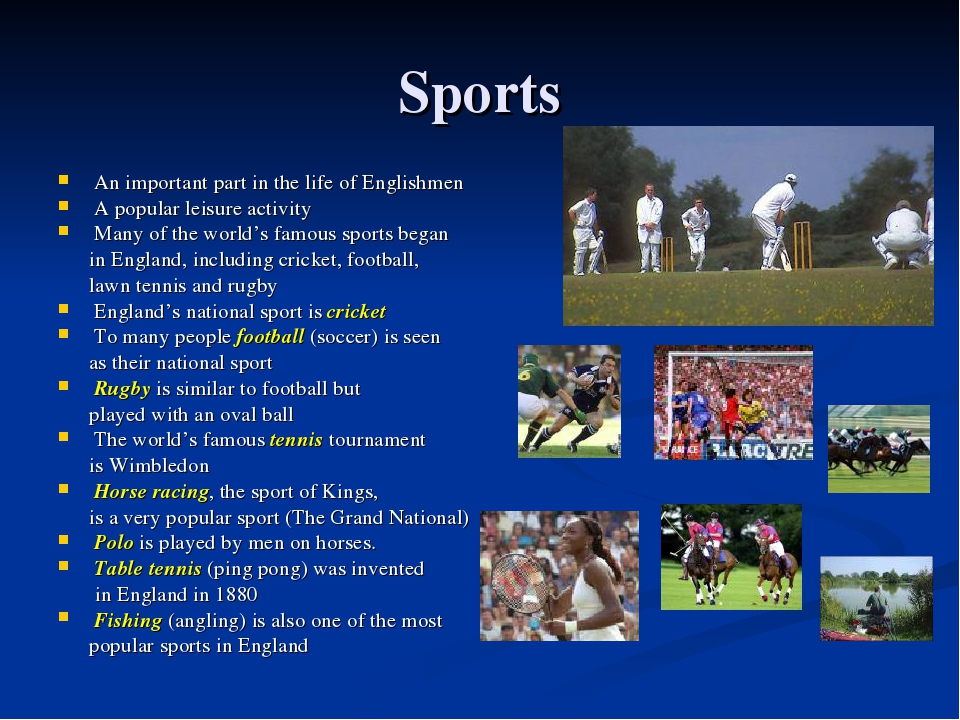 Sports An important part in the life of Englishmen A popular leisure activity...