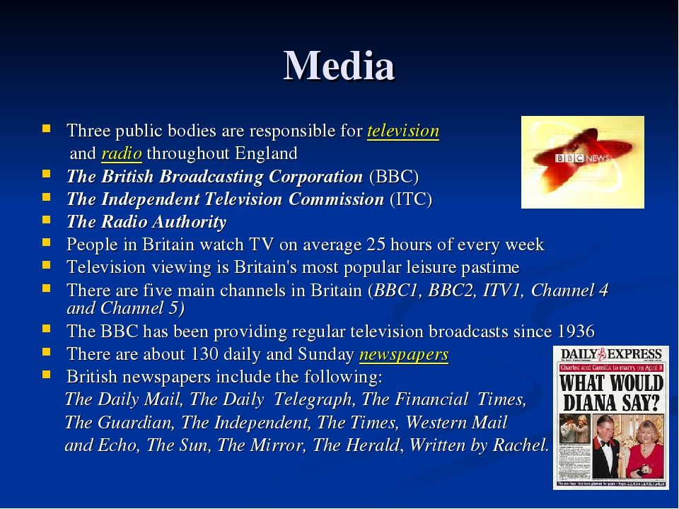 Media Three public bodies are responsible for television and radio throughout...