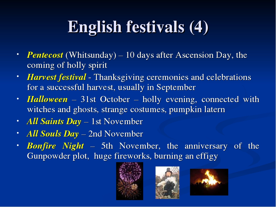 English festivals (4) Pentecost (Whitsunday) – 10 days after Ascension Day, t...