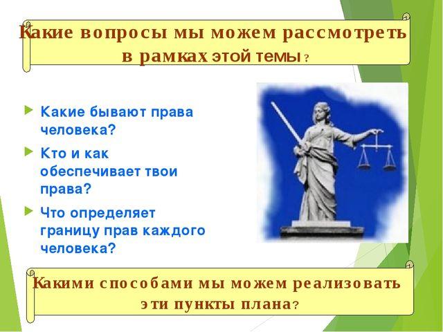 Какие бывают права человека? Кто и как обеспечивает твои права? Что определяе...