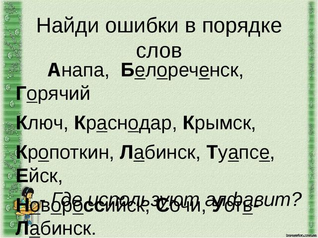 Найди ошибки в порядке слов Анапа, Белореченск, Горячий Ключ, Краснодар, Кр...