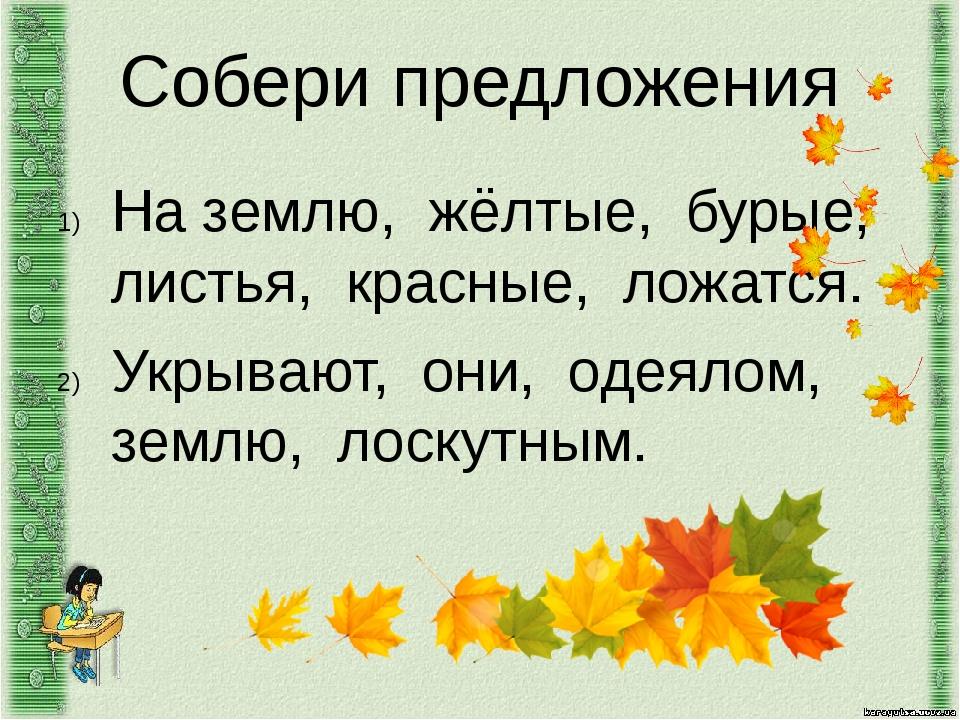 Собери предложения На землю, жёлтые, бурые, листья, красные, ложатся. Укрываю...