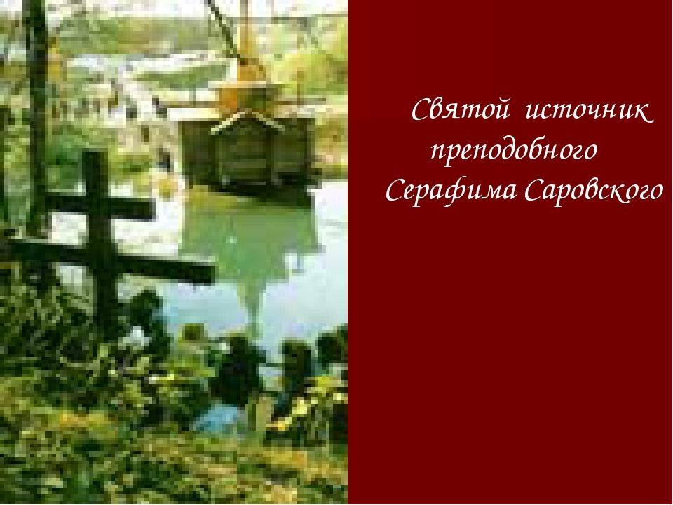 Святой источник преподобного Серафима Саровского