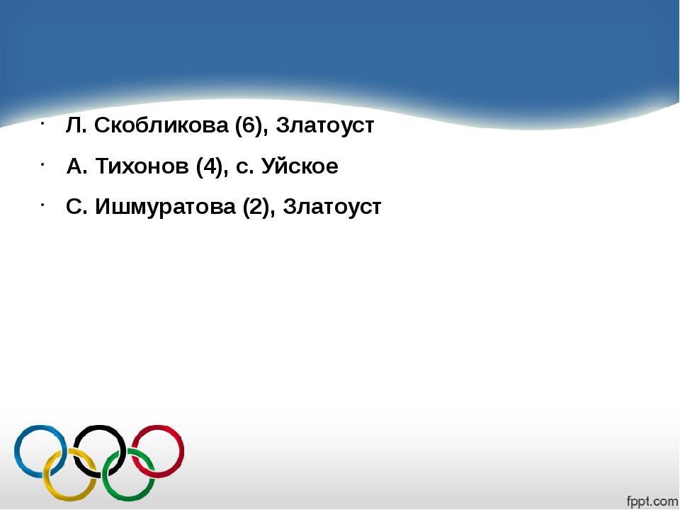 Л. Скобликова (6), Златоуст А. Тихонов (4), с. Уйское С. Ишмуратова (2), Зла...