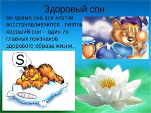Здоровый сон Во время сна все клетки восстанавливаются , поэтому хороший сон