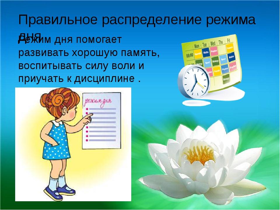 Правильное распределение режима дня Режим дня помогает развивать хорошую памя...