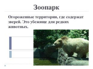 Зоопарк Огороженные территории, где содержат зверей. Это убежище для редких ж