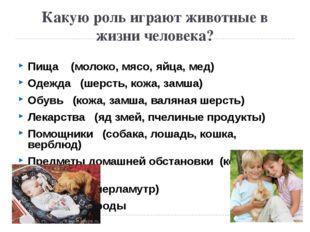 Какую роль играют животные в жизни человека? Пища (молоко, мясо, яйца, мед) О