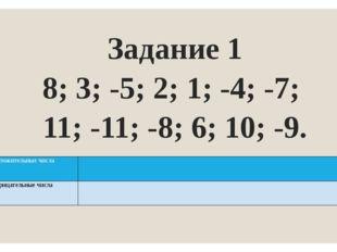 Задание 1 8; 3; -5; 2; 1; -4; -7; 11; -11; -8; 6; 10; -9. Положительные числа