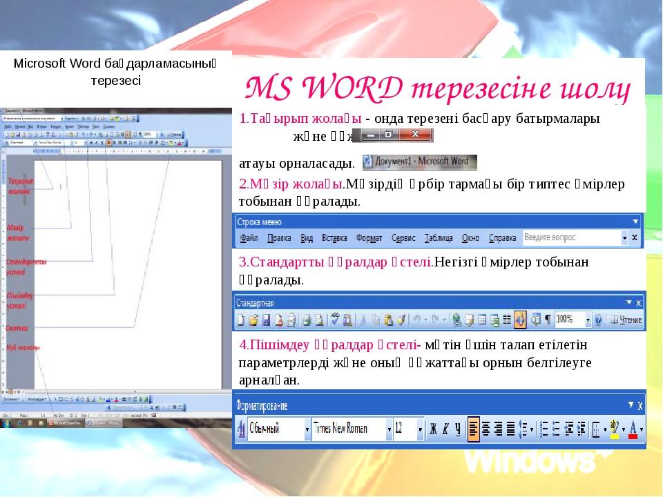 Microsoft Word бағдарламасының терезесі MS WORD терезесіне шолу 1.Тақырып жол...