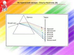 Исторический экскурс. Опыты Ньютона. [9]