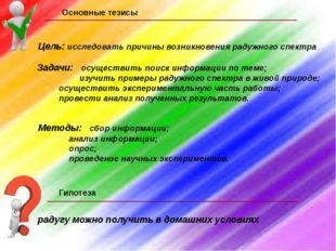 Основные тезисы Цель: исследовать причины возникновения радужного спектра Зад