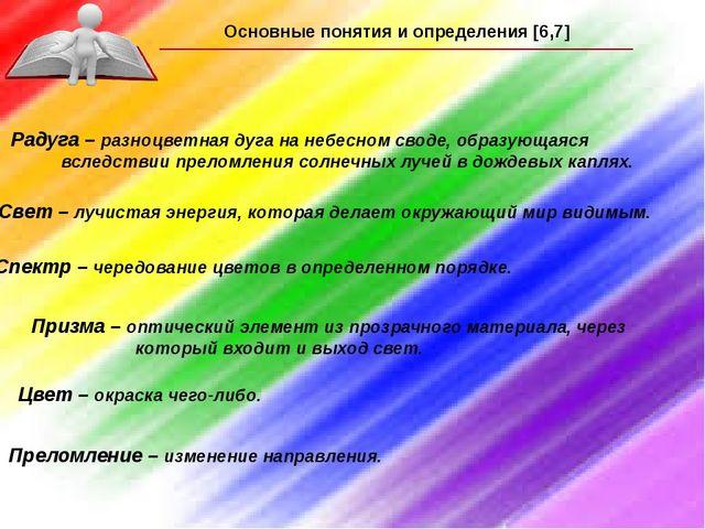Основные понятия и определения [6,7] Радуга – разноцветная дуга на небесном с...