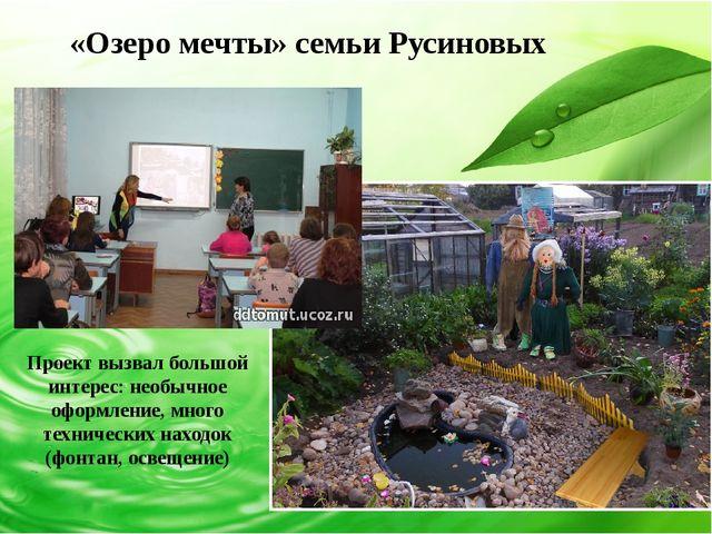 «Озеро мечты» семьи Русиновых Проект вызвал большой интерес: необычное оформ...
