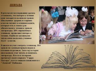 В результате исследования удалось установить, что интерес к чтению книг наход