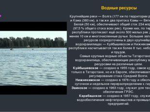Водные ресурсы Крупнейшие реки— Волга (177км по территории республики) и К