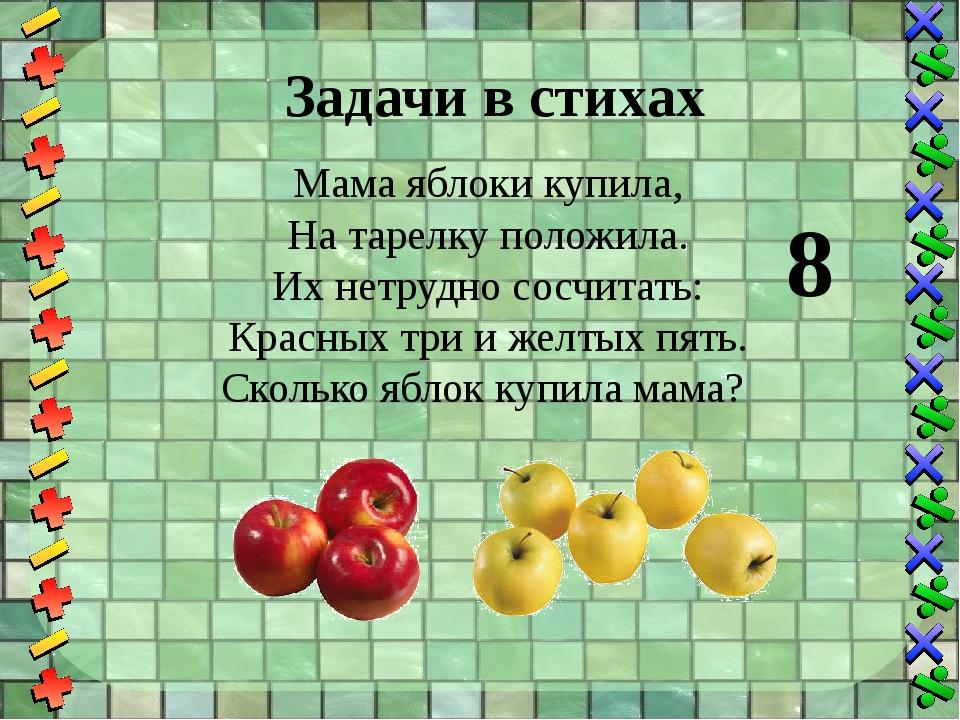 Задачи в стихах Мама яблоки купила, На тарелку положила. Их нетрудно сосчитат...