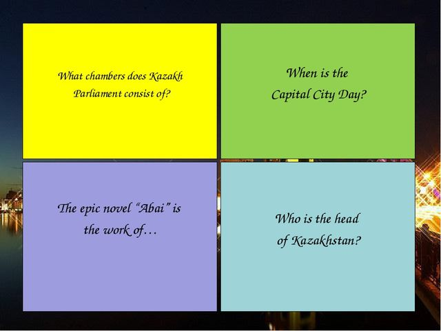 When is the Capital City Day? Who is the head of Kazakhstan? What chambers do...
