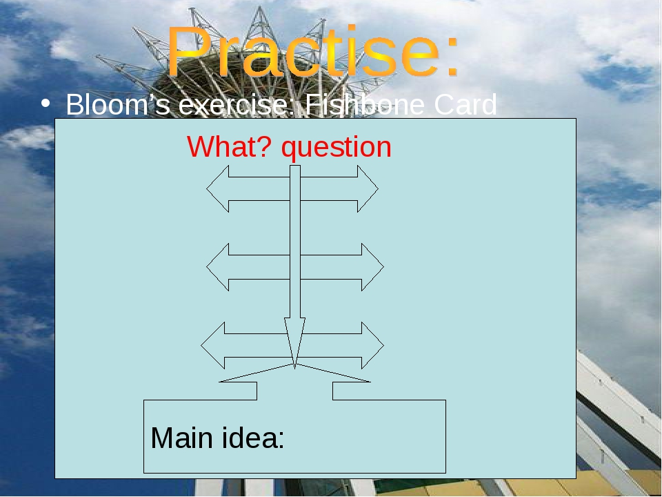 Bloom's exercise: Fishbone Card What? question Main idea: