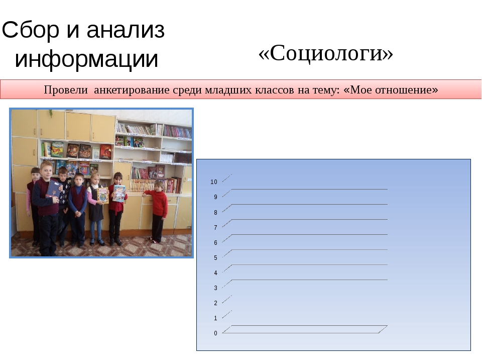 «Социологи» Сбор и анализ информации Провели анкетирование среди младших клас...