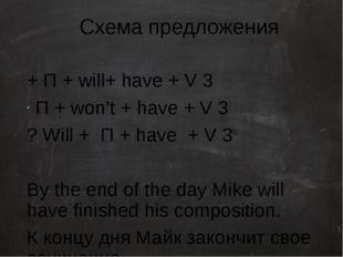 Схема предложения + П + will+ have + V 3 П + won't + have + V 3 ? Will + П +