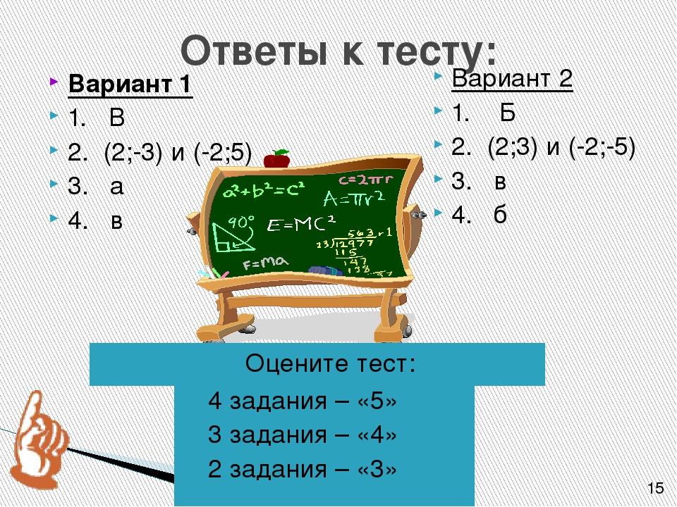 Ответы к тесту: 4 задания – «5» 3 задания – «4» 2 задания – «3» Вариант 1 1....