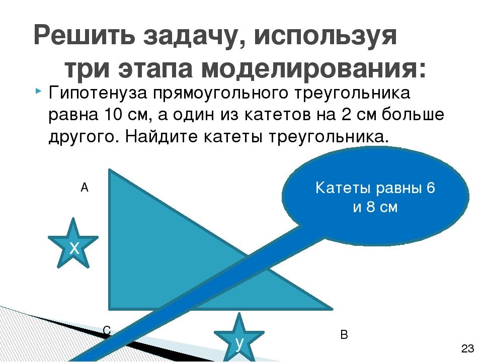 Гипотенуза прямоугольного треугольника равна 10 см, а один из катетов на 2 см...