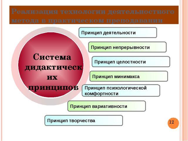 Реализация технологии деятельностного метода в практическом преподавании При...