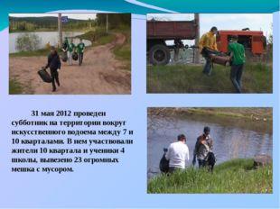 31 мая 2012 проведен субботник на территории вокруг искусственного водоема м