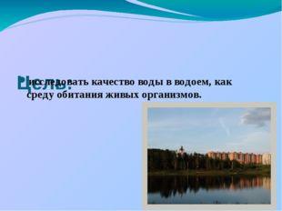 Цель: исследовать качество воды в водоем, как среду обитания живых организмов.
