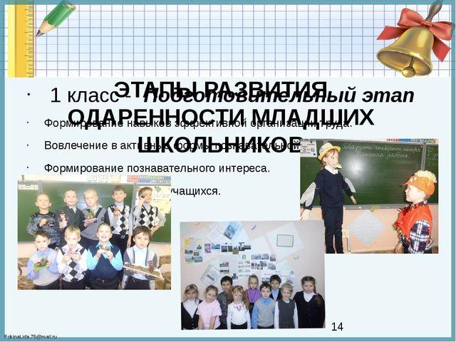 ЭТАПЫ РАЗВИТИЯ ОДАРЕННОСТИ МЛАДШИХ ШКОЛЬНИКОВ  1 класс - Подготовительный э...