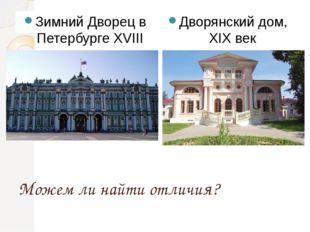 Можем ли найти отличия? Зимний Дворец в Петербурге XVIII век Дворянский дом,