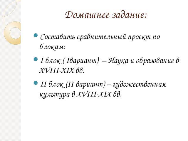 Домашнее задание: Составить сравнительный проект по блокам: I блок ( Iвариант...