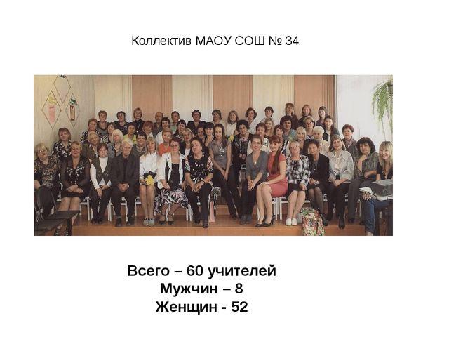 Коллектив МАОУ СОШ № 34 Всего – 60 учителей Мужчин – 8 Женщин - 52