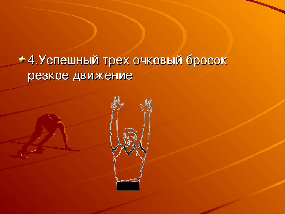 4.Успешный трех очковый бросок резкое движение