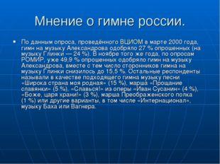 Мнение о гимне россии. По данным опроса, проведённого ВЦИОМ в марте 2000 года
