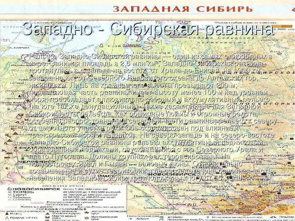 Западно - Сибирская равнина Рельеф Западно-Сибирской равнины — один из самых...