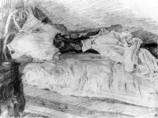 """МихаилВрубель.""""Кровать"""" из цикла этюдов """"Бессонница"""", 1905."""