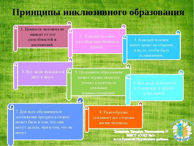 Принципы инклюзивного образования 1. Ценность человека не зависит от его спо...