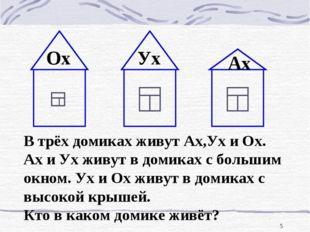 * В трёх домиках живут Ах,Ух и Ох. Ах и Ух живут в домиках с большим окном. У