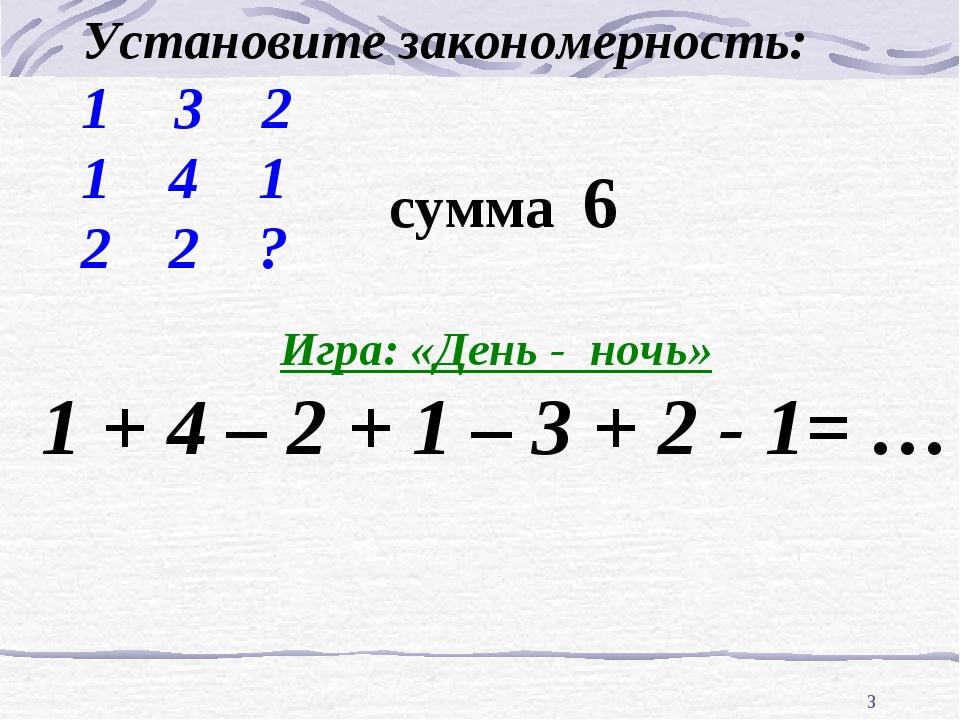 * 3 2 1 4 1 2 2 ? Установите закономерность: Игра: «День - ночь» 1 + 4 – 2 +...