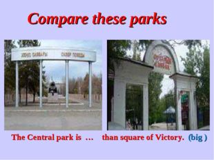 Compare these parks The Central park is … than square of Victory. (big )