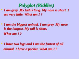 Polyglot (Riddles) I am grey. My tail is long. My nose is short. I am very l