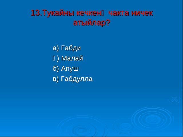 13.Тукайны кечкенә чакта ничек атыйлар? а) Габди ә) Малай б) Апуш в) Габдулла