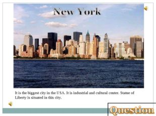 It is the biggest city in the USA. It is industrial and cultural center. Stat