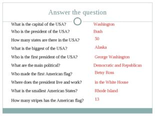 What is the capital of the USA? How many states are there in the USA? Who is