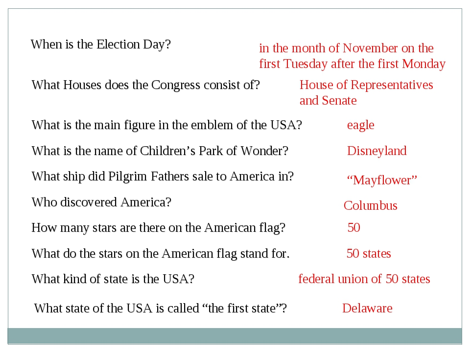 When is the Election Day? What is the main figure in the emblem of the USA? W...